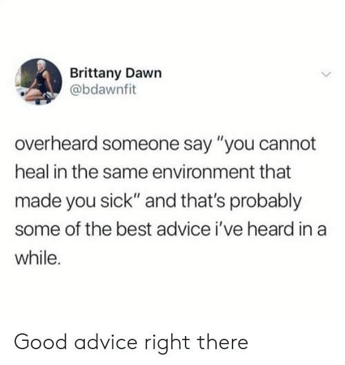 """Advice, Dank, and Best: Brittany Dawn  @bdawnfit  overheard someone say """"you cannot  heal in the same environment that  made you sick"""" and that's probably  some of the best advice i've heard in a  while. Good advice right there"""