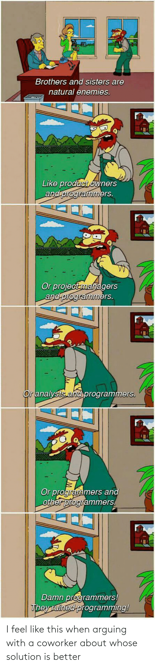 arguing: Brothers and sisters are  natural enemies.  Like product owners  and programmers.  Or projectanmanagers  and programmers.  Or analysts and programmers.  Or programmers and  other programmers.  Damn programmers!  They tuined programming! I feel like this when arguing with a coworker about whose solution is better
