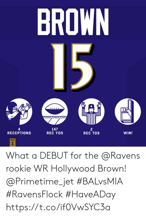Memes, Ravens, and 🤖: BROWN  15  GAP  4  RECEPTIONS  147  REC YDS  2  REC TDS  WIN!  WK  1 What a DEBUT for the @Ravens rookie WR Hollywood Brown! @Primetime_jet  #BALvsMIA #RavensFlock #HaveADay https://t.co/if0VwSYC3a
