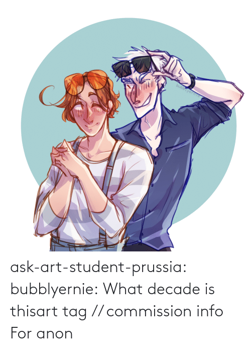 anon: bubblyerne ask-art-student-prussia:  bubblyernie:  What decade is thisart tag // commission info   For anon