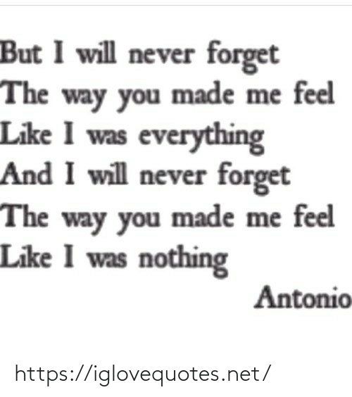 the way: But I will never forget  The way you made me feel  Like I was everything  And I will never forget  The way you made me feel  Like I was nothing  Antonio https://iglovequotes.net/