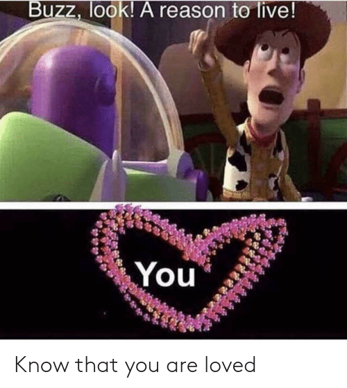 Live, Reason, and You: Buzz, look! A reason te live! Know that you are loved