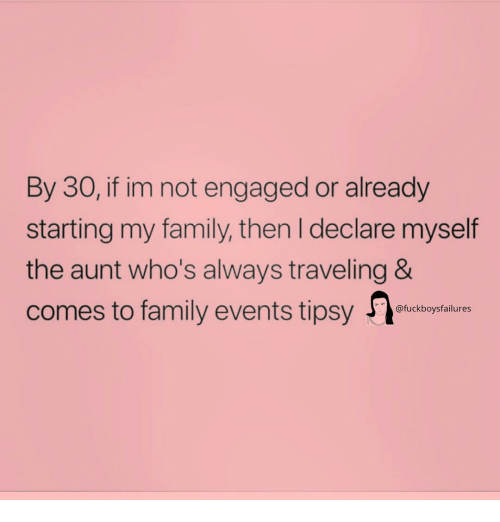 Family, Girl Memes, and Events: By 30, if im not engaged or already  starting my family, then I declare myself  the aunt who's always traveling &  comes to family events tipsy  @fuckboysfailures