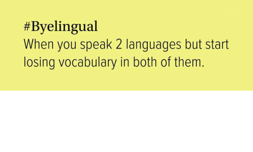 vocabulary:  #Byelingual  When you speak 2 languages but start  losing vocabulary in both of them.