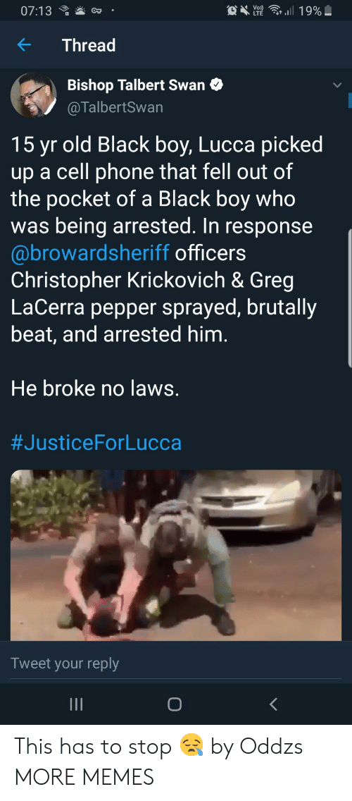 In Response: C  07:13  Y2  ,.il 19%  OT  Thread  Bishop Talbert Swan C  @TalbertSwan  15 yr old Black boy, Lucca picked  up a cell phone that fell out of  the pocket of a Black boy who  was being arrested. In response  @browardsheriff officers  Christopher Krickovich & Greg  LaCerra pepper sprayed, brutally  beat, and arrested him  He broke no laws  #JusticeForLucca  Tweet your reply This has to stop 😪 by Oddzs MORE MEMES
