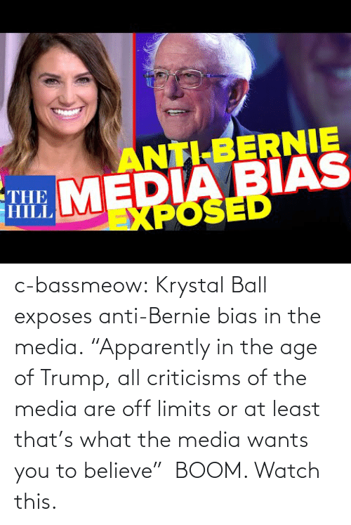 "Bernie: c-bassmeow:  Krystal Ball  exposes anti-Bernie bias in the media. ""Apparently in the age of Trump, all criticisms of the media are off limits or at least that's what the media wants you to believe""  BOOM. Watch this."