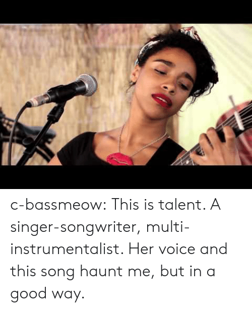 Tumblr, Blog, and Good: c-bassmeow:  This is talent. A singer-songwriter, multi-instrumentalist. Her voice and this song haunt me, but in a good way.