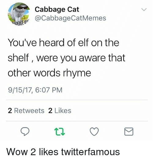 Elf, Elf on the Shelf, and Wow: Cabbage Cat  @CabbageCatMemes  You've heard of elf on the  shelf, were you aware that  other words rhyme  9/15/17, 6:07 PM  2 Retweets 2 Likes Wow 2 likes twitterfamous