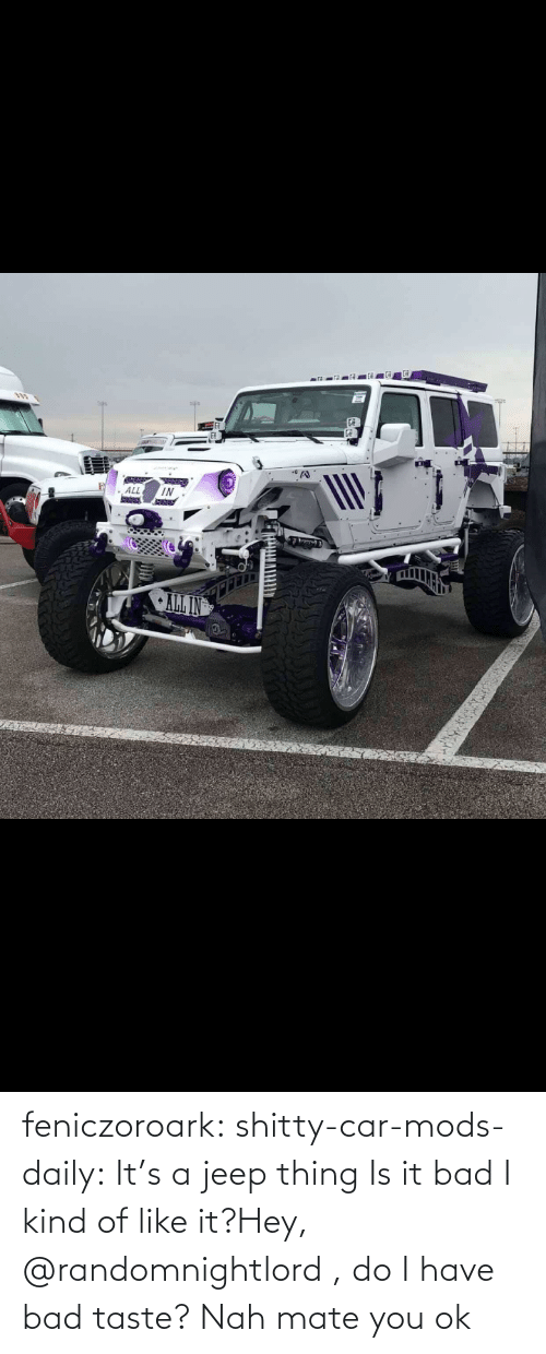 Do I: CAL IN feniczoroark:  shitty-car-mods-daily:  It's a jeep thing   Is it bad I kind of like it?Hey, @randomnightlord , do I have bad taste?   Nah mate you ok