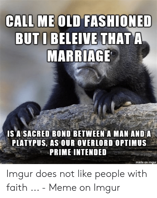 Faith Meme: CALL ME OLD FASHIONED  BUT I BELEIVE THAT A  MARRIAGE  IS A SACRED BOND BETWEENA MAN AND A  PLATYPUS, AS OUR OVERLORD OPTIMUS  PRIME INTENDED  made on imgur