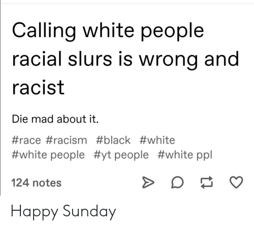 Racism, Tumblr, and White People: Calling white people  racial slurs is wrong and  racist  Die mad about it.  #race #racism #black #white  #white people #yt people #white ppl  124 notes Happy Sunday