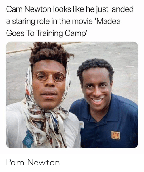 Cam Newton, Nfl, and Movie: Cam Newton looks like he just landed  a staring role in the movie 'Madea  Goes To Training Camp'  too Pam Newton
