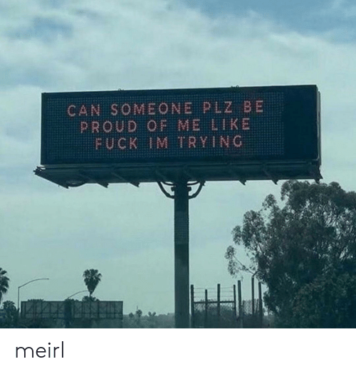 Proud Of Me: CAN SOMEONE PLZ BE  PROUD OF ME LIKE  FUCK IM TRYING meirl