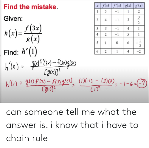 The Answer: can someone tell me what the answer is. i know that i have to chain rule