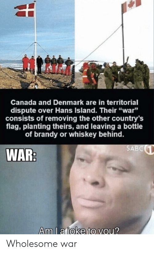 """Canada, Denmark, and Wholesome: Canada and Denmark are in territorial  dispute over Hans Island. Their """"war""""  sists of removing the other country's  flag, planting theirs, and leaving a bottle  of brandy or whis key behind.  SABC  WAR:  Am l a ioke to you? Wholesome war"""