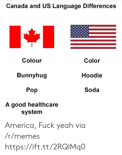 America Fuck Yeah: Canada and US Language Differences  Colour  Bunnyhug  Pop  A good healthcare  Color  Hoodie  Soda  system America, Fuck yeah via /r/memes https://ift.tt/2RQlMq0