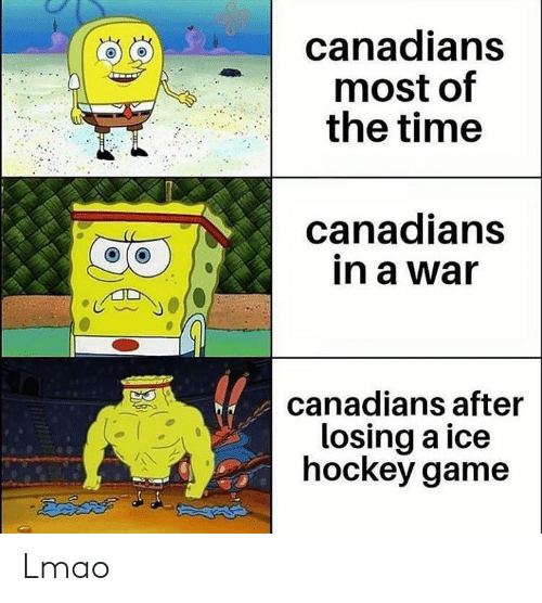 Hockey: canadians  most of  the time  anadians  in a war  o a  canadians after  losing a ice  hockey game Lmao