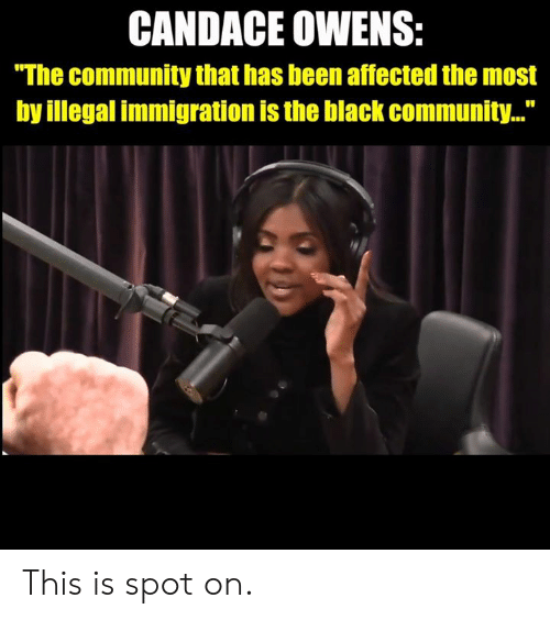 """Immigration: CANDACE OWENS:  """"The community that has been affected the most  by illegal immigration is the black community..."""" This is spot on."""