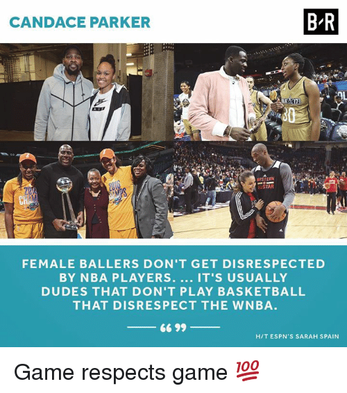 WNBA (Womens National Basketball Association): CANDACE PARKER  B-R  ESTERN  LSTAR  Cn  FEMALE BALLERS DON'T GET DISRESPECTED  BY NBA PLAYERS. IT'S USUALLY  DUDES THAT DON'T PLAY BASKETBALL  THAT DISRESPECT THE WNBA  66 99  HIT ESPN'S SARAH SPAIN Game respects game 💯