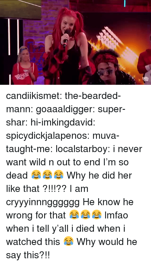 Bearded: candiikismet: the-bearded-mann:   goaaaldigger:  super-shar:   hi-imkingdavid:   spicydickjalapenos:   muva-taught-me:   localstarboy:  i never want wild n out to end  I'm so dead 😂😂😂   Why he did her like that ?!!!??   I am cryyyinnngggggg   He know he wrong for that 😂😂😂   lmfao when i tell y'all i died when i watched this 😂    Why would he say this?!!