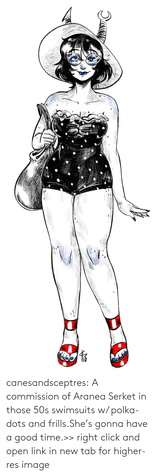Click: canesandsceptres:  A commission of Aranea Serket in those 50s swimsuits w/ polka-dots and frills.She's gonna have a good time.>> right click and open link in new tab for higher-res image