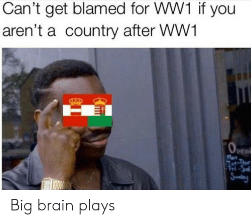 Cant Get: Can't get blamed for WW1 if you  aren't a country after WW1  OeEn  Men  Aet-Thue  Tri-Sal  Snday Big brain plays