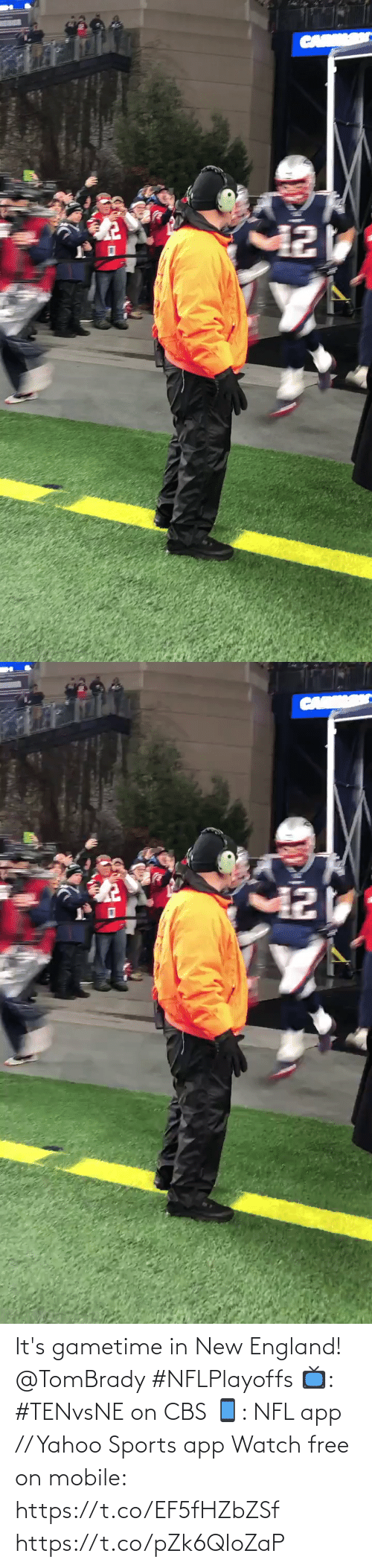 England: CAR   CARK It's gametime in New England! @TomBrady #NFLPlayoffs  📺: #TENvsNE on CBS 📱: NFL app // Yahoo Sports app Watch free on mobile: https://t.co/EF5fHZbZSf https://t.co/pZk6QIoZaP
