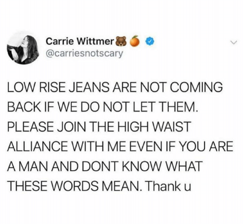 Mean, Back, and Carrie: Carrie Wittmer *  @carriesnotscary  LOW RISE JEANS ARE NOT COMING  BACK IF WE DO NOT LET THEM.  PLEASE JOIN THE HIGH WAIST  ALLIANCE WITH ME EVEN IF YOU ARE  A MAN AND DONT KNOW WHAT  THESE WORDS MEAN. Thank u