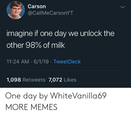 Dank, Memes, and Target: Carson  @CallMeCarsonYT  imagine if one day we unlock the  other 98% of milk  11:24 AM 6/1/19 TweetDeck  1,098 Retweets 7,072 Likes One day by WhiteVanilla69 MORE MEMES