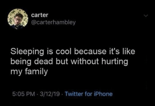Because Its: carter  @carterhambley  Sleeping is cool because it's like  being dead but without hurting  my family  5:05 PM 3/12/19 Twitter for iPhone
