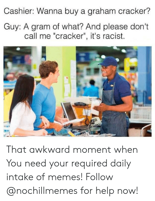 "Memes, Awkward, and Help: Cashier: Wanna buy a graham cracker?  Guy: A gram of what? And please don't  call me ""cracker"", it's racist.  alamy That awkward moment when  You need your required daily intake of memes! Follow @nochillmemes for help now!"
