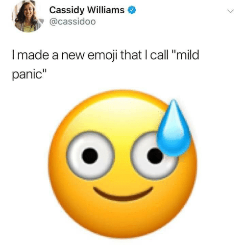 "Emoji, Mild, and Cassidy: Cassidy Williams  @cassidoo  Imade a new emoji that I call ""mild  panic"""