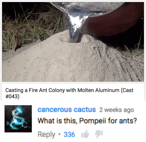 pompeii: Casting a Fire Ant Colony with Molten Aluminum (Cast  #043)   cancerous cactuS 2 weeks ago  What is this, Pompeii for ants?  Reply 336