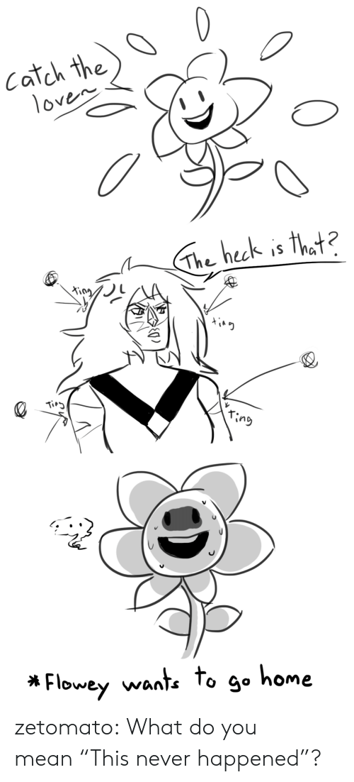 "to-go-home: Catch the  1oven   The heck is that?  King  Tirg  ring   Flowey wante to go home zetomato:  What do you mean ""This never happened""?"