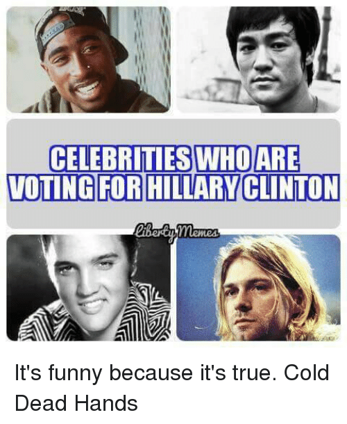 Its Funny Because Its True: CELEBRITIES WHO ARE  VOTING FOR HILLARY CLINTON It's funny because it's true. Cold Dead Hands