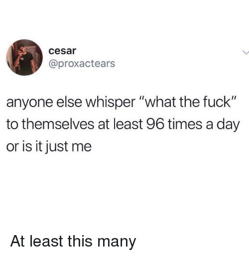"Fuck, Day, and Whisper: cesar  @proxactears  anyone else whisper ""what the fuck""  to themselves at least 96 times a day  or is it just me At least this many"
