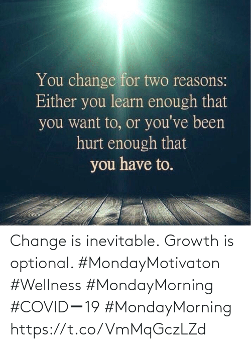 Love for Quotes: Change is inevitable. Growth is optional.   #MondayMotivaton #Wellness  #MondayMorning #COVIDー19  #MondayMorning https://t.co/VmMqGczLZd