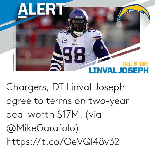 via: Chargers, DT Linval Joseph agree to terms on two-year deal worth $17M. (via @MikeGarafolo) https://t.co/OeVQl48v32