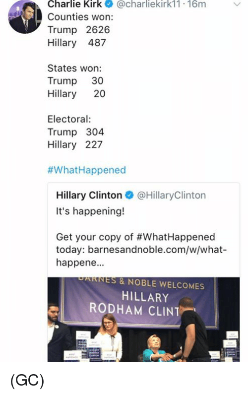 Trumping: Charlie Kirk@charliekirk11 16m  Counties won:  Trump 2626  Hillary 487  States won:  Trump 30  Hillary 20  Electoral  Trump 304  Hillary 227  #What-Happened  Hillary Clinton@HillaryClinton  It's happening!  Get your copy of #WhatHappened  today: barnesandnoble.com/w/what-  happene.  PARNES & NOBLE WELCOMES  HILLARY  RODHAM CLINT (GC)