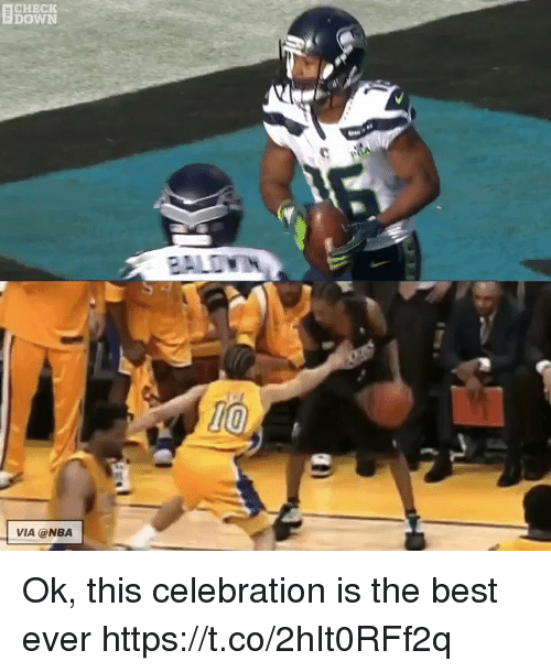 best ever: CHECK  DOWN  VIA @NBA Ok, this celebration is the best ever https://t.co/2hIt0RFf2q
