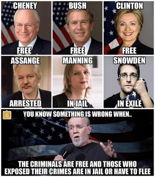 Jail, Memes, and Free: CHENEY**BUSH  CLINTON  FREE  ASSANGE  FREE  MANNING  FREE  SNOWDEN  ARRESTED  2  IN EXILE  INJAIL  YOU KNOW SOMETHING IS WRONG WHEN.  THE CRIMINALS ARE FREE AND THOSE WHO  EXPOSED THEIR CRIMES ARE IN JAIL OR HAVE TO FLEE