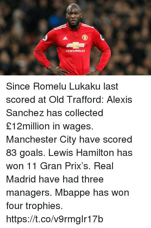 trophies: CHEVROLET Since Romelu Lukaku last scored at Old Trafford:  Alexis Sanchez has collected £12million in wages.  Manchester City have scored 83 goals.  Lewis Hamilton has won 11 Gran Prix's.  Real Madrid have had three managers.  Mbappe has won four trophies. https://t.co/v9rmgIr17b