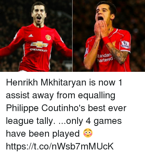 best ever: CHEVROLET  tandar  hartered Henrikh Mkhitaryan is now 1 assist away from equalling Philippe Coutinho's best ever league tally.  ...only 4 games have been played 😳 https://t.co/nWsb7mMUcK