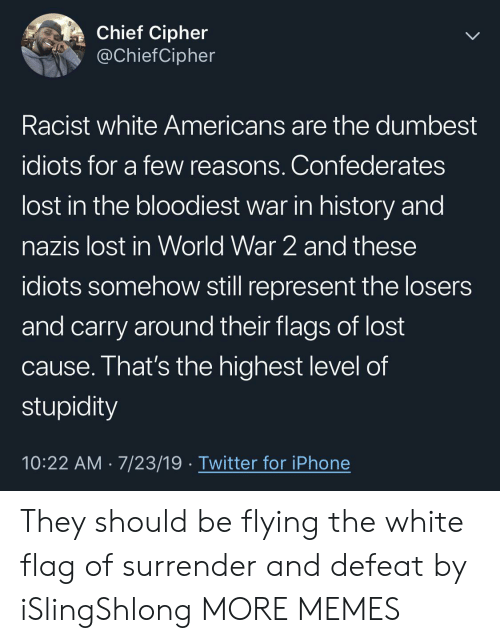 Stupidity: Chief Cipher  @ChiefCipher  Racist white Americans are the dumbest  idiots for a few reasons. Confederates  lost in the bloodiest war in history and  nazis lost in World War 2 and these  idiots somehow still represent the losers  and carry around their flags of lost  cause. That's the highest level of  stupidity  10:22 AM 7/23/19 Twitter for iPhone They should be flying the white flag of surrender and defeat by iSlingShlong MORE MEMES