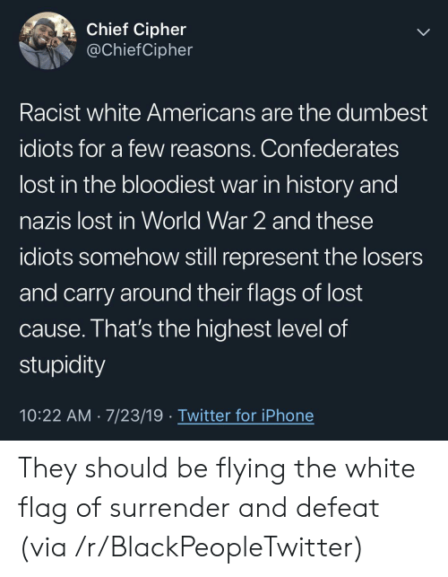 Stupidity: Chief Cipher  @ChiefCipher  Racist white Americans are the dumbest  idiots for a few reasons. Confederates  lost in the bloodiest war in history and  nazis lost in World War 2 and these  idiots somehow still represent the losers  and carry around their flags of lost  cause. That's the highest level of  stupidity  10:22 AM 7/23/19 Twitter for iPhone They should be flying the white flag of surrender and defeat (via /r/BlackPeopleTwitter)