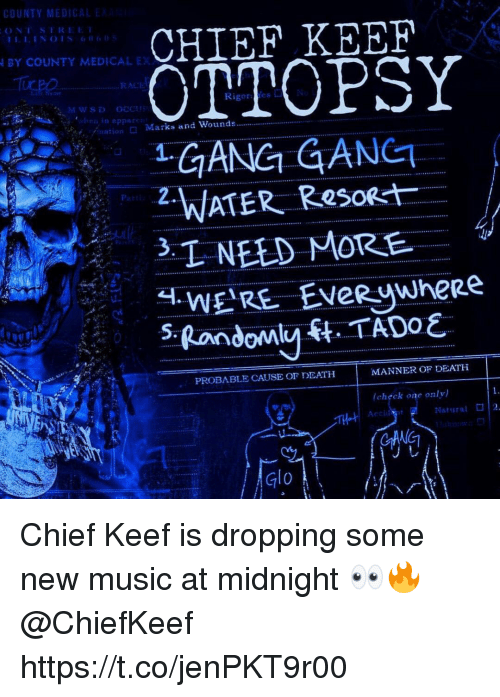 Chief Keef, Music, and Gang: CHIEF KEEF  OTTOPSY  GANG GANET  BY COUNTY MEDICAL EX  RACI  Rigores  /nation  □ Marks and Wounds  P2.  oat  PROBABLE CAUSE Or DEATH  MANNER OF DEATH  (chぐck one only)  Natural  2  TH  Glo Chief Keef is dropping some new music at midnight 👀🔥 @ChiefKeef https://t.co/jenPKT9r00