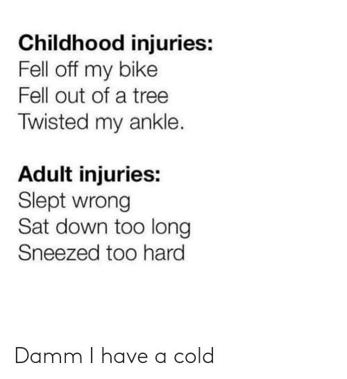 Too Long: Childhood injuries:  Fell off my bike  Fell out of a tree  Twisted my ankle.  Adult injuries:  Slept wrong  Sat down too long  Sneezed too hard Damm I have a cold
