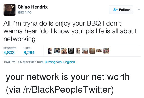Net Worth: Chino Hendrix  @ikchino  +Followv  All I'm tryna do is enjoy your BBQ I don't  wanna hear 'do l know you' pls life is all about  networking  RETWEETS  LIKES  4,803 6,264  1:50 PM-25 Mar 2017 from Birmingham, England <p>your network is your net worth (via /r/BlackPeopleTwitter)</p>