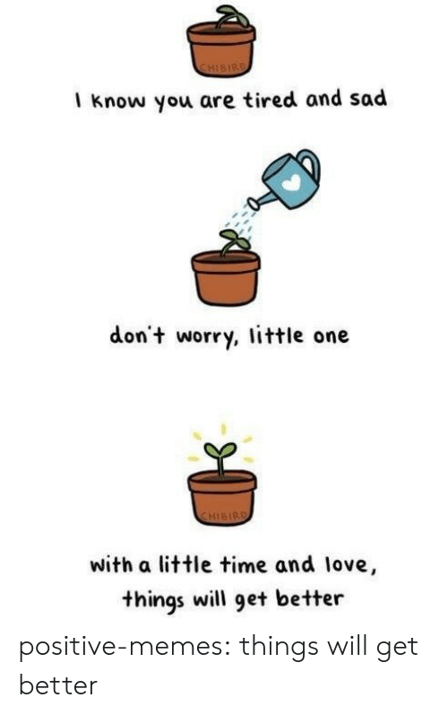 Little One: CHISIRD  I know you are tired and sad  don't worry, little one  CHISIRD  with a little time and love,  things will get better positive-memes:  things will get better