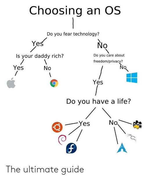 yes no: Choosing an OS  Do you fear technology?  Yes  No  Do you care about  Is your daddy rich?  freedom/privacy?  Yes  No  Yes  Do you have a life?  No  Yes  1. The ultimate guide